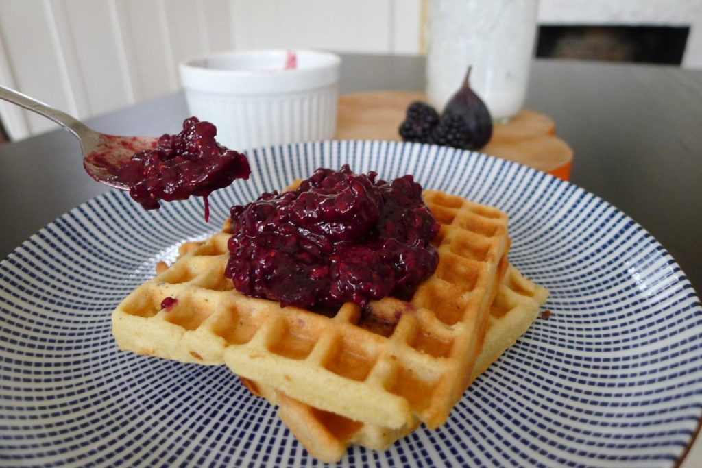 Against All Grain Waffles, with blackberry and fig jam
