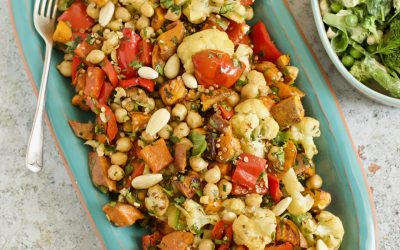 Roasted Vegetable & Chickpea Salad with a Smokey Paprika Dressing