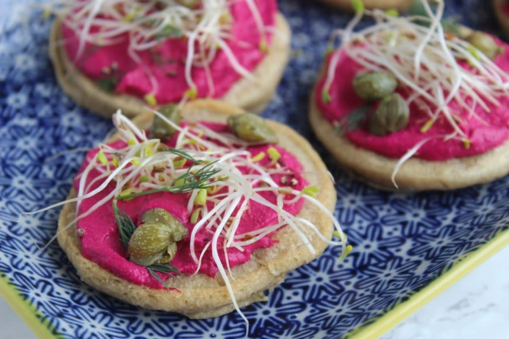 Teff Blini Beetroot Cashew Cheese, Natural Kitchen Adventures, Dairy Free Gluten Free, Canape