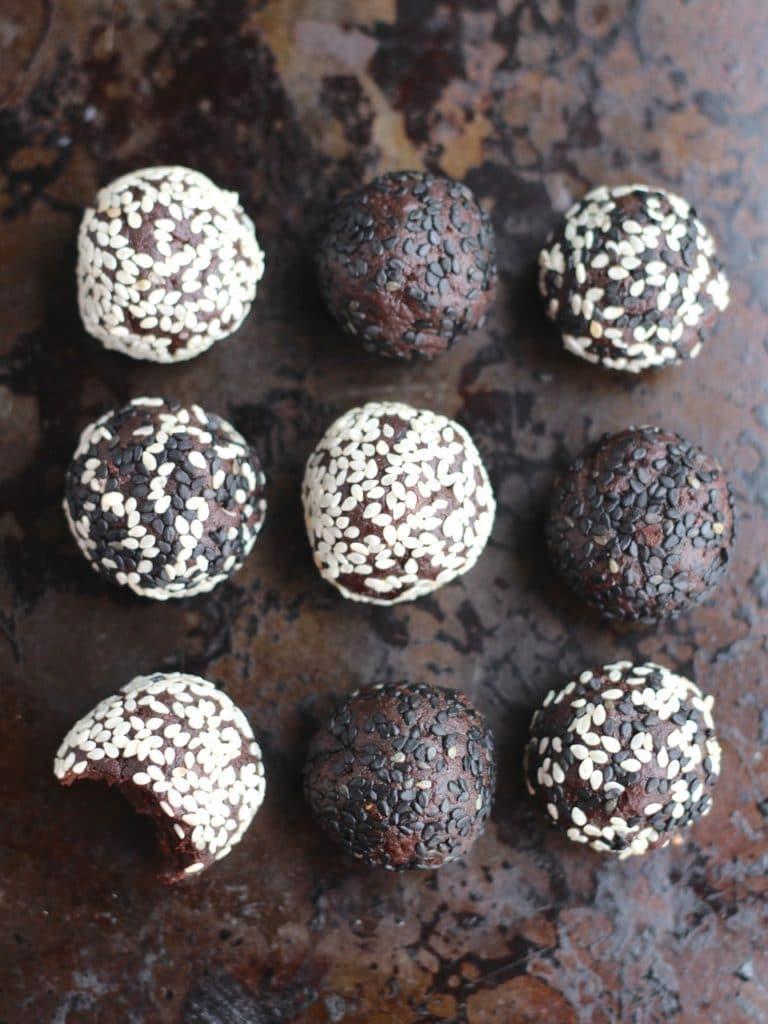Chocolate Tahini Balls, nut free, gluten free, dairy free, vegan