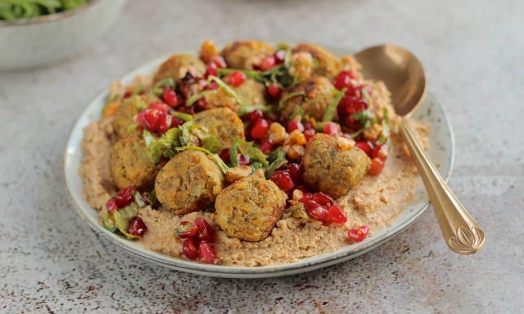 Goodlife Falafel with Cauliflower Dip, Pomegranate Walnut Relish. Goodlife Falafel, gluten free, vegan   Natural Kitchen Adventures