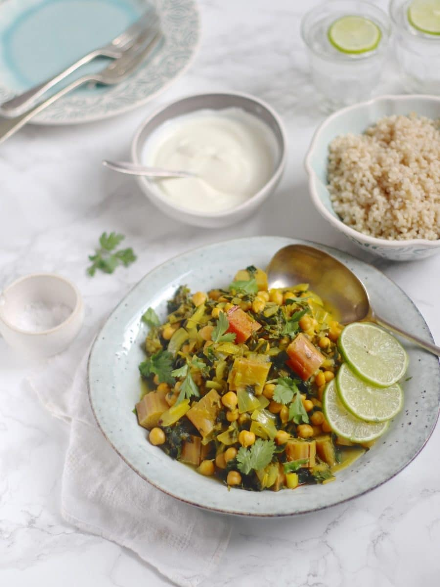 Rhubarb Khoresh with Chickpeas & Chard