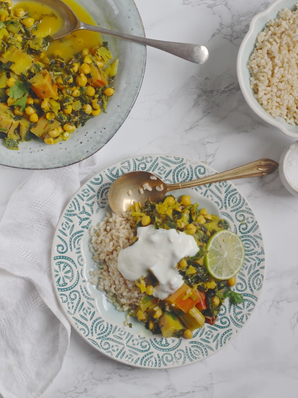 Rhubarb Khoresh with Chickpeas and Chard, A Persian stew with saffron and turmeric. Vegan, vegetarian, gluten free. Natural Kitchen Adventures