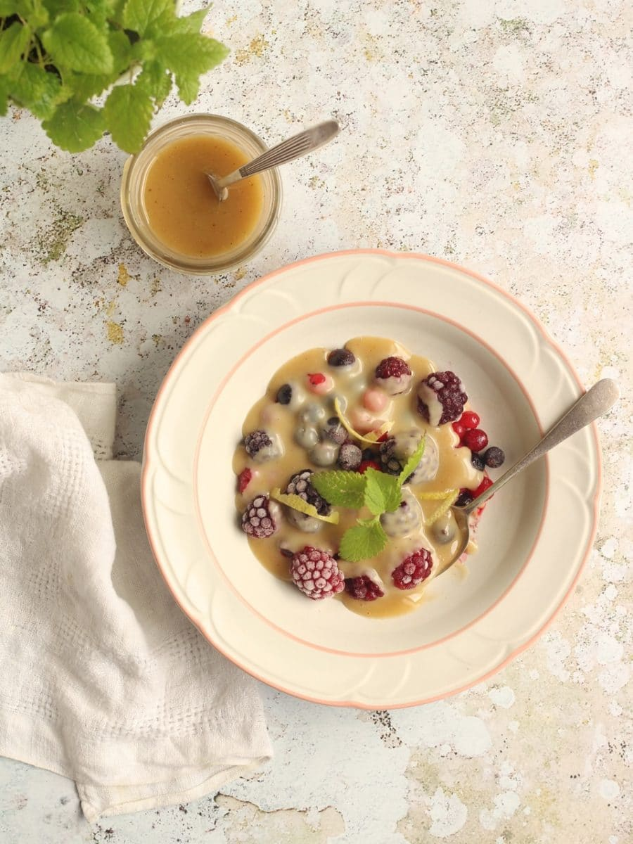 Iced Summer Berries with Vegan White Chocolate Sauce