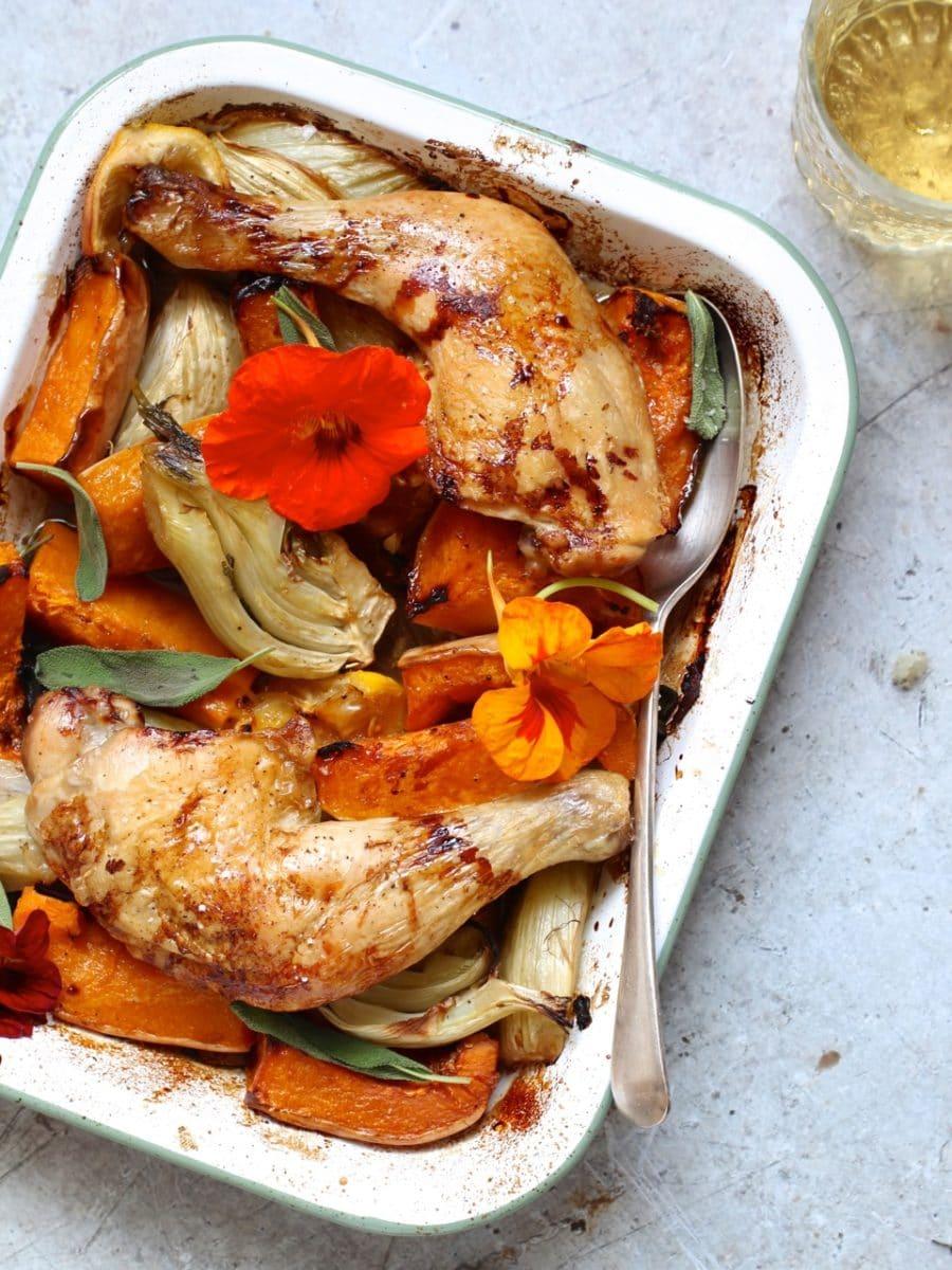 Squash, Fennel & Sage Chicken Traybake