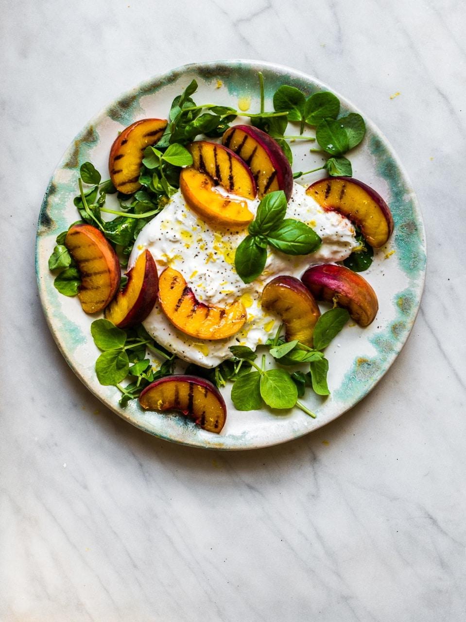 Peach With Burrata Pea Shoots Ceri Jones Chef