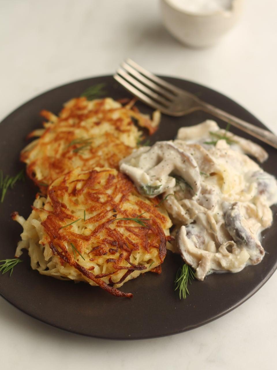 Potato Pancakes with Mushroom Sauce a vegetariian recipe from Ren Behan's Wild Honey and Rye, Modern Polish Recipes