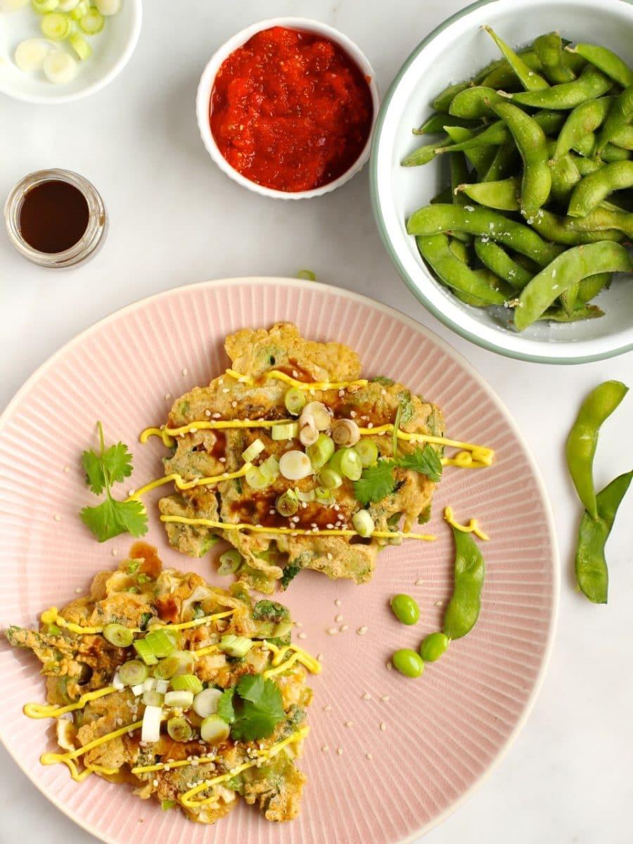 Okonomiyaki {Japanese cabbage pancakes}
