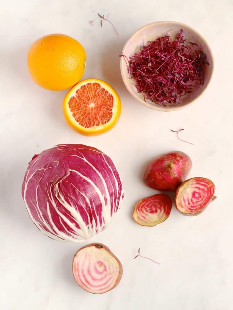 Radicchio, Chioggia beetroot, Cara cara orange, amaranth leaves | Natural Kitchen Adventures