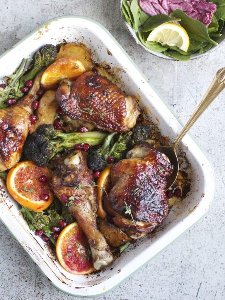 Chicken, Purple Sprouting Broccoli & Pomegranate Molasses Tray bake | Natural Kitchen Adventures
