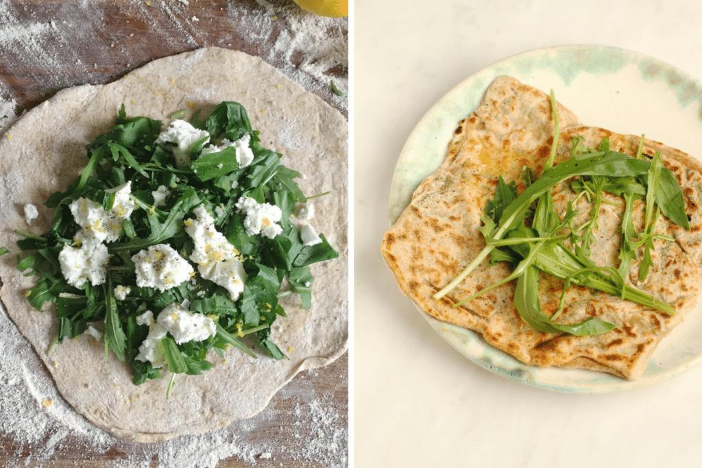 Wild Garlic, Rocket and Goat's Cheese Gözleme   from Henrietta Inman's The Natural Baker   Natural Kitchen Adventures