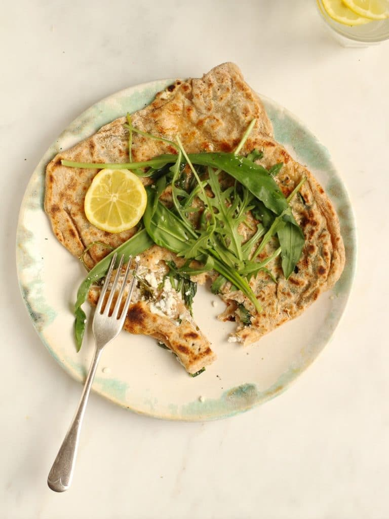 Wild Garlic, Rocket and Goat's Cheese Gozleme   from Henrietta Inman's The Natural Baker   Natural Kitchen Adventures