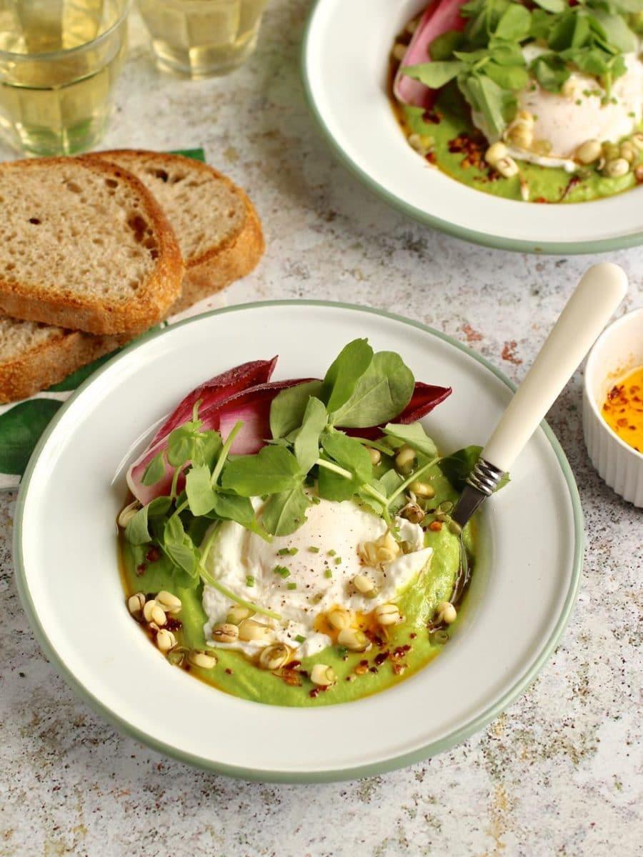 Pea Purée, Poached Eggs, Chilli Butter & Pea Shoots