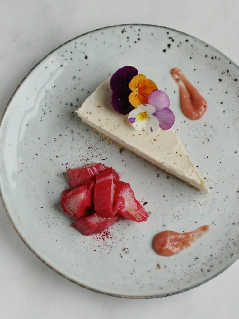 Lemon Cashew Cheesecake with Ginger Roasted Rhubarb and Rhubarb Puree | A vegan, gluten free dessert | Natural Kitchen Adventures