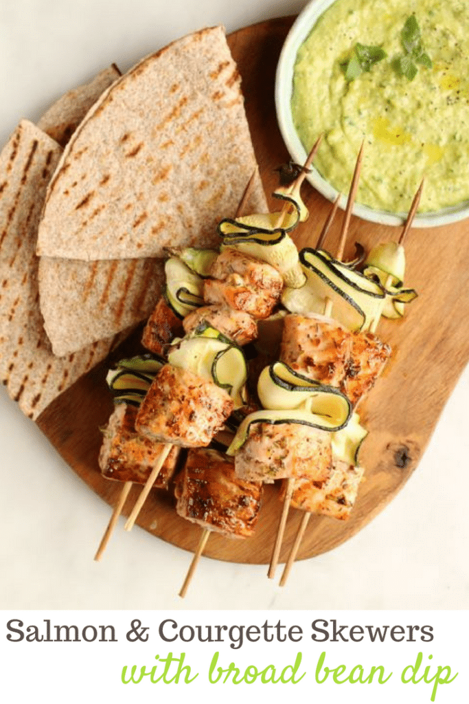 Salmon and Courgette Skewers Broad Bean Dip & Grilled Flatbread | Natural Kitchen Adventures