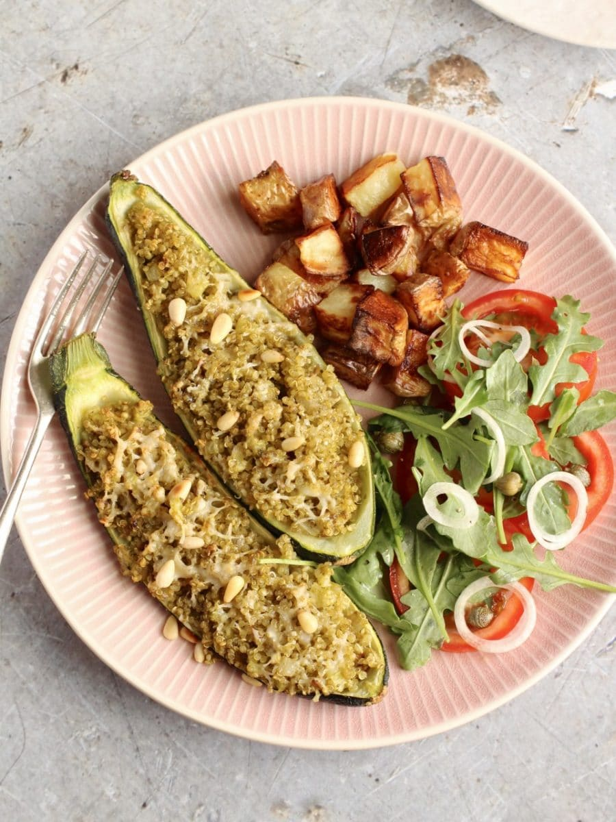 Quinoa Stuffed courgettes with Pesto, Parmesan and Pine Nuts