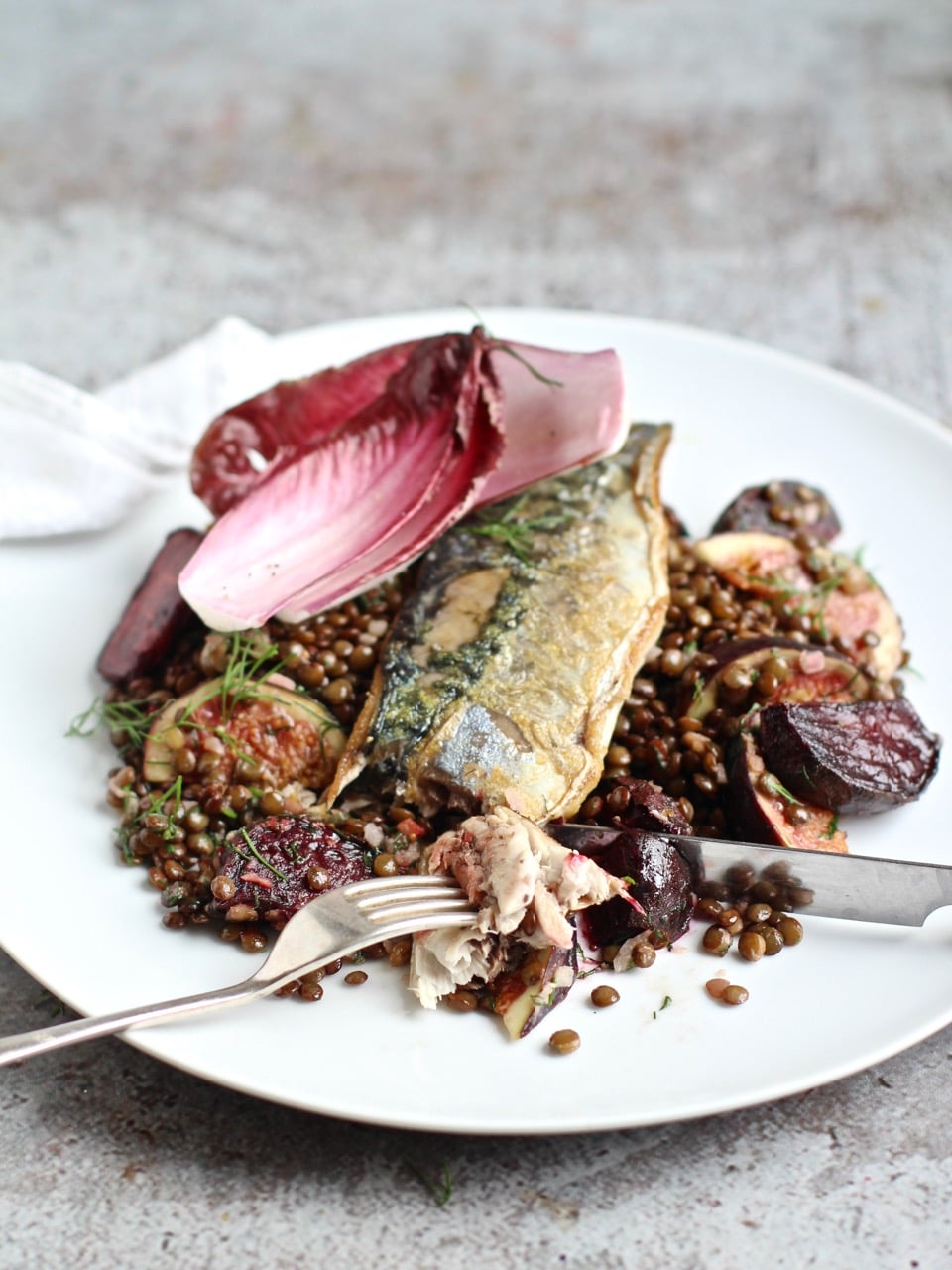 Pan-fried Mackerel with Warm Lentil, Beetroot and Figs | Natural Kitchen Adventures