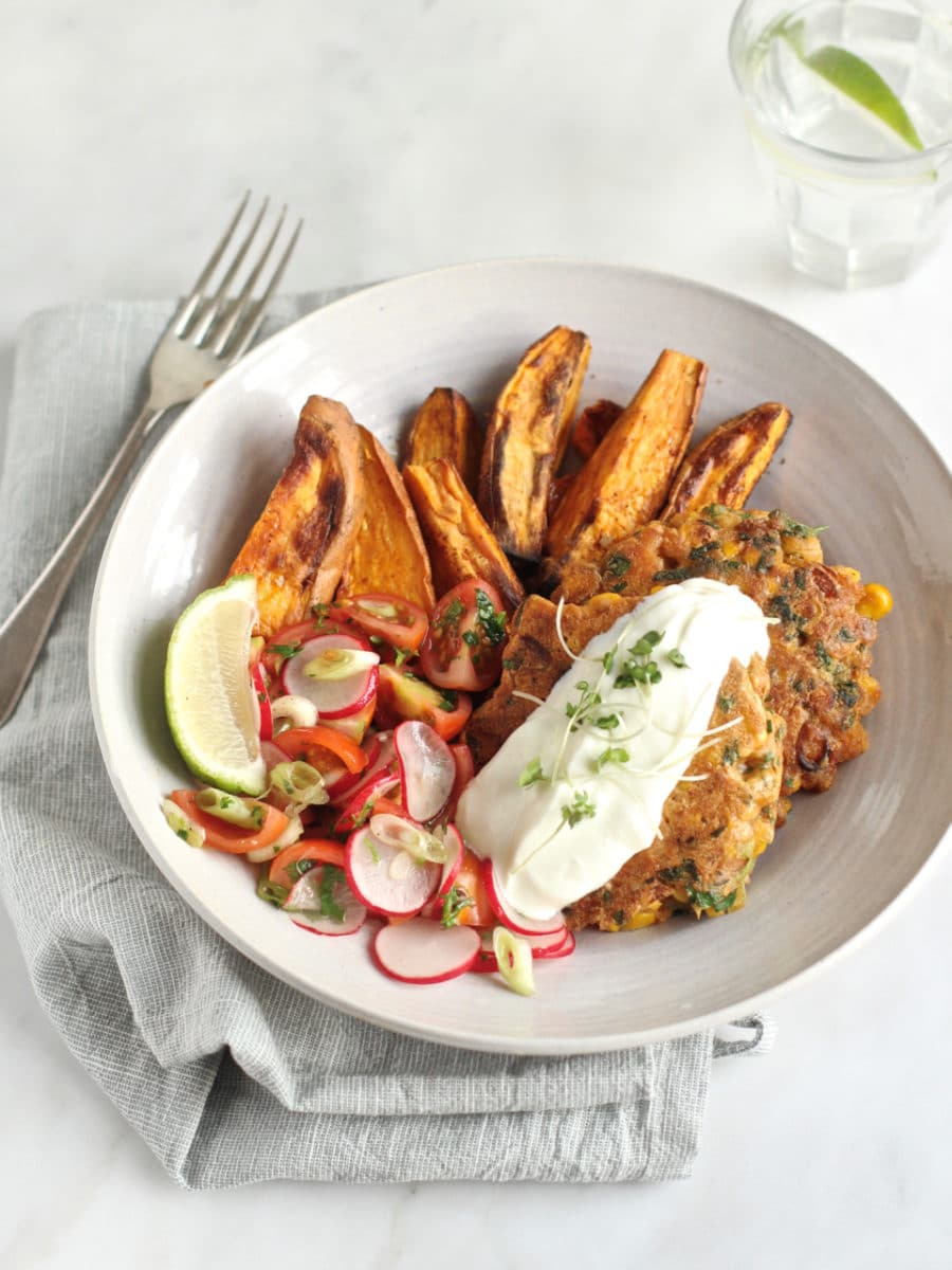 Sweetcorn and Yellow Pea Flour Fritters, with Sweet Potato Wedges & Radish, Tomato and Lime Salsa