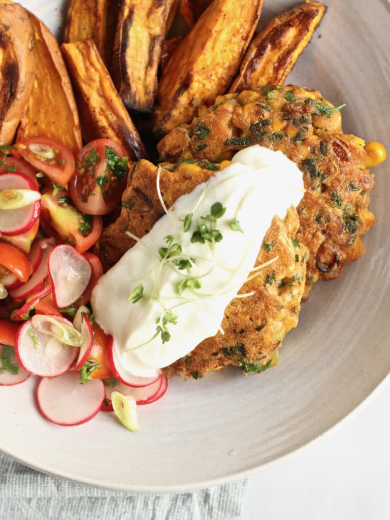Sweetcorn and Yellow Pea Flour Fritters | Natural Kitchen Adventures