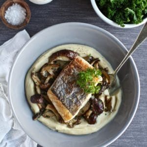 Celeriac Butter Bean Puree Wild Mushrooms Pan-fried Hake | Natural Kitchen Adventures