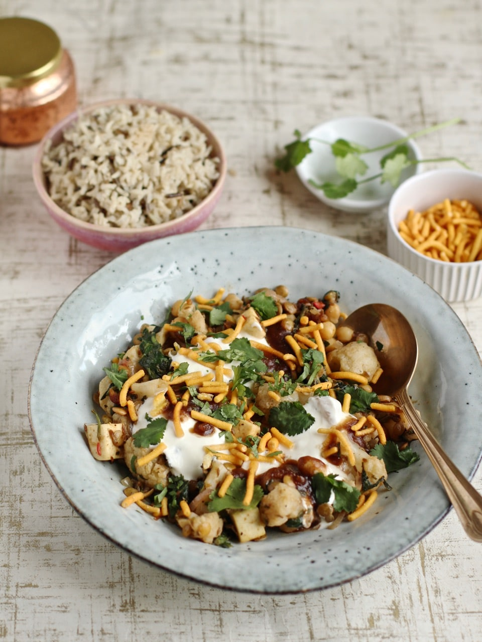 Chickpea spinach and paneer chaat bowl | Natural Kitchen Adventures