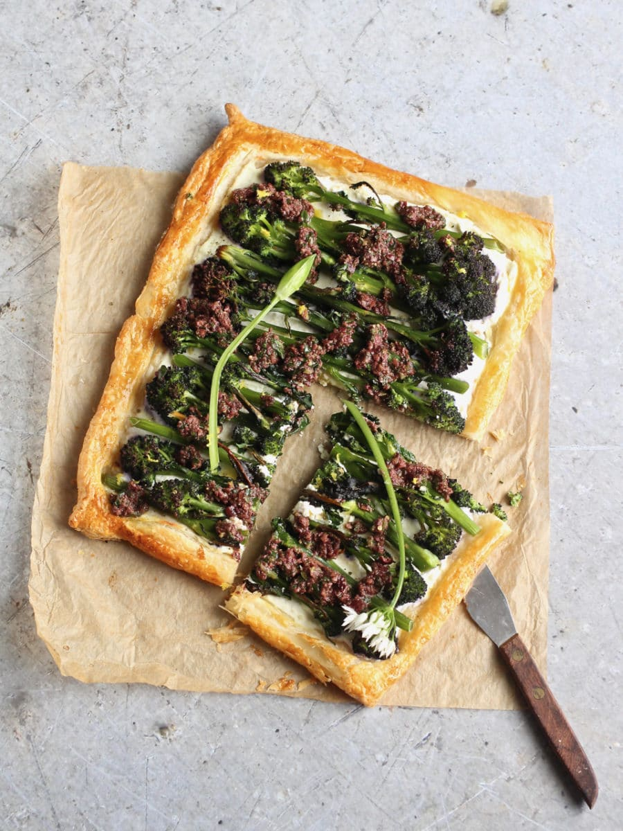 Purple Sprouting Broccoli & Ricotta Puff Pastry Tart with Olive & Wild Garlic Tapenade