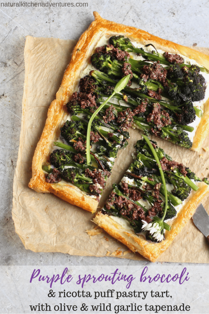 Purple Sprouting Broccoli & Ricotta Puff Pastry Tart with Olive & Wild Garlic Tapenade | Natural Kitchen Adventures