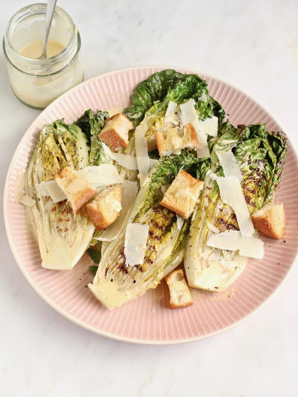 Griddled Gem Lettuce with lemony Caesar dressing side dish | Natural Kitchen Adventures
