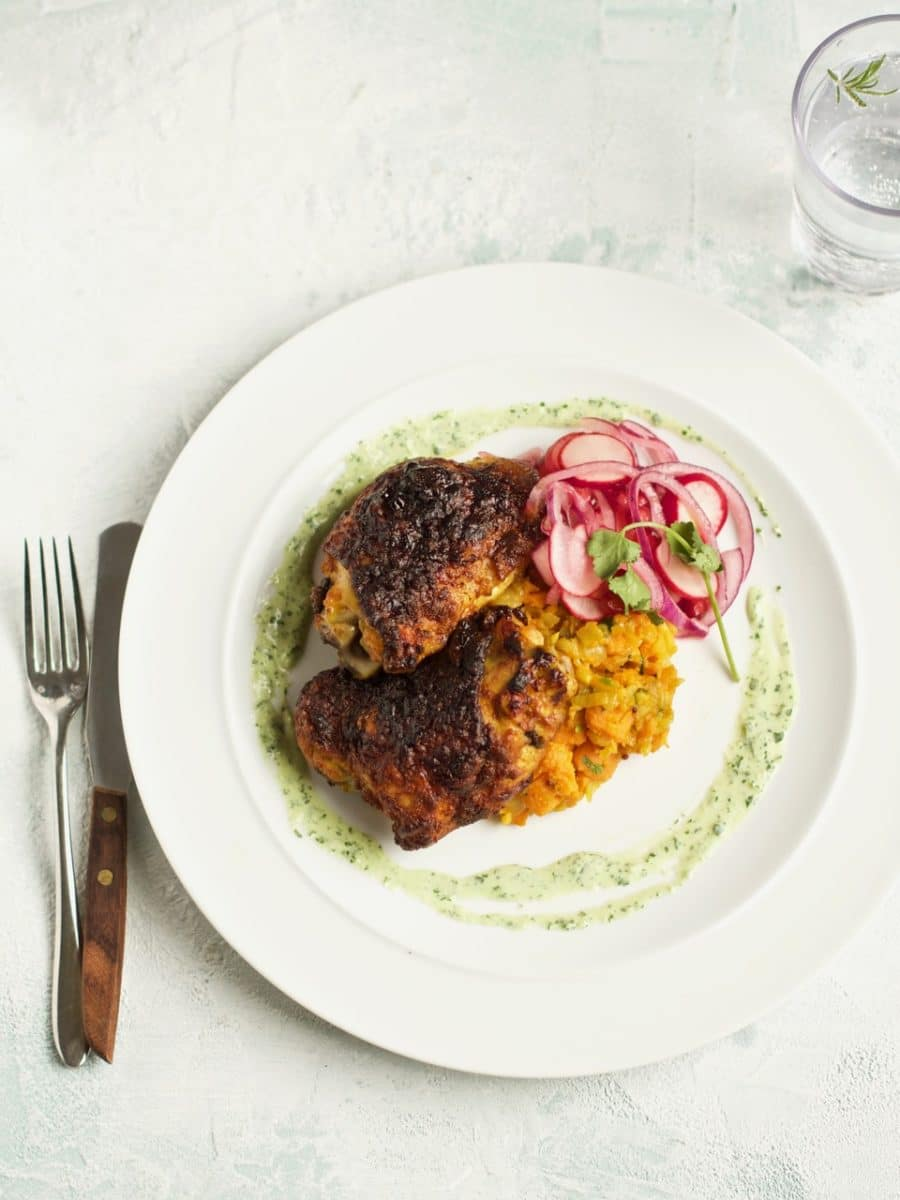 Spiced chicken thighs, mustard seed sweet potatoes, radish & red onion salad, coriander yoghurt